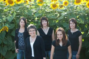 Five People Standing in Front of Sunflowers