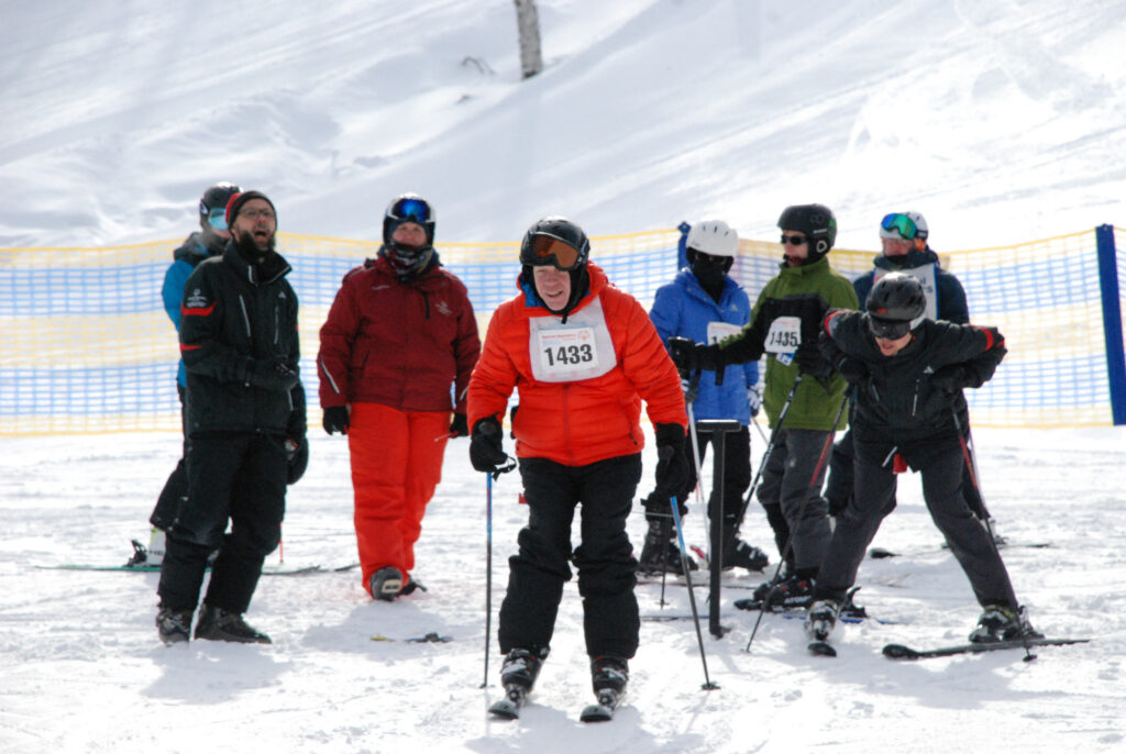 A group of people skiing