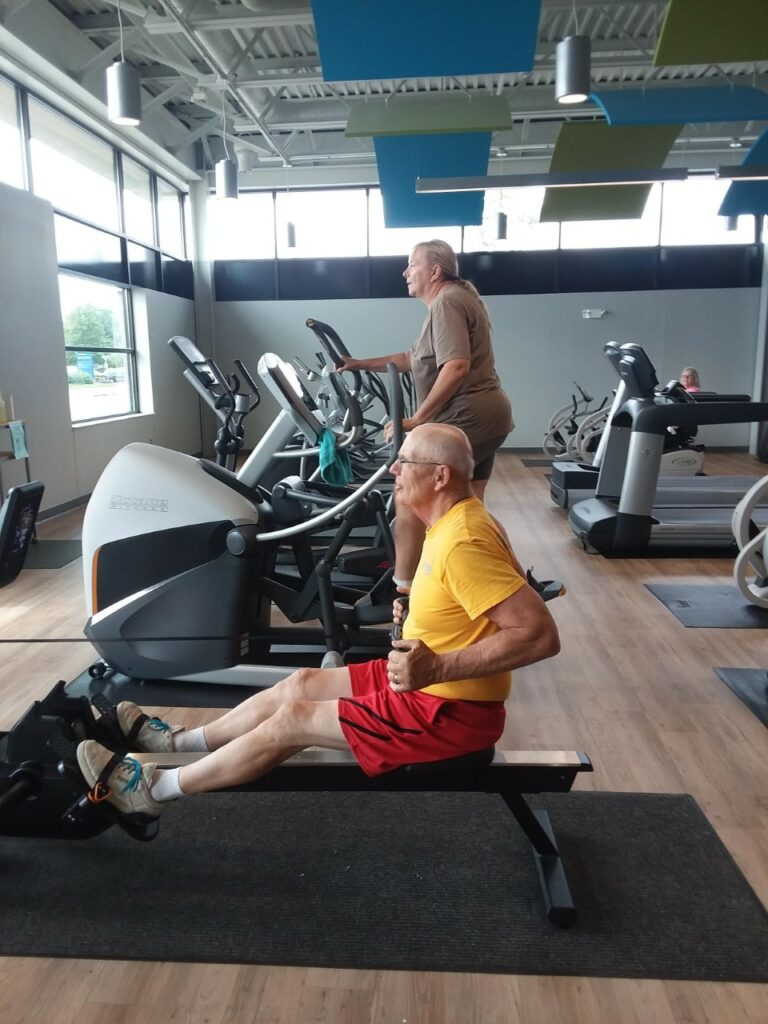 Two people exercising