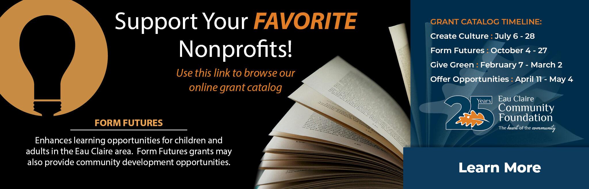 Form Future Grant Catalog is Open